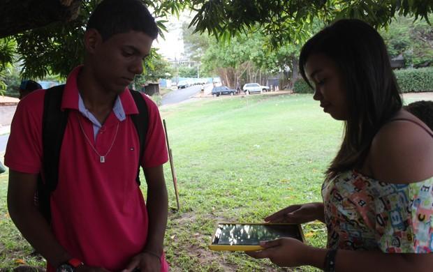 Camila da Silva e Rhuan Araújo - Xadrez Piauí (Foto: Emanuele Madeira/GLOBOESPORTE.COM)