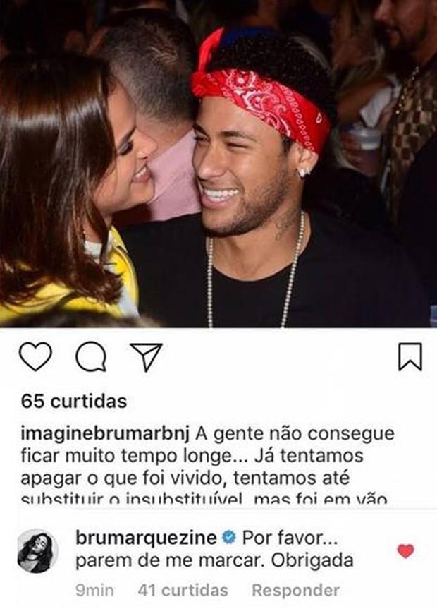 Bruna Marquezine pede que fãs parem de marcá-la em fotos com Neymar (Foto: Reprodução/Instagram)
