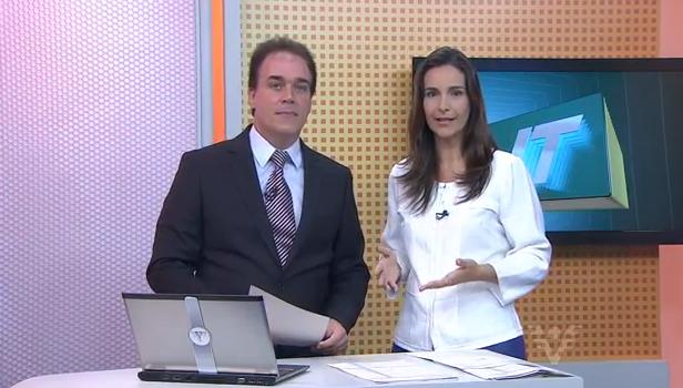 Vanessa Machado e Tony Lamers no Jornal da Tribuna 1ª edição (Foto: arquivo pessoal)