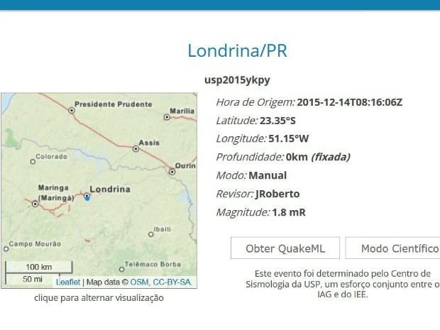 Tremor em Londrina foi registrado pelo Centro de Sismologia da USP (Foto: Reprodução/Centro de Sismologia da USP)