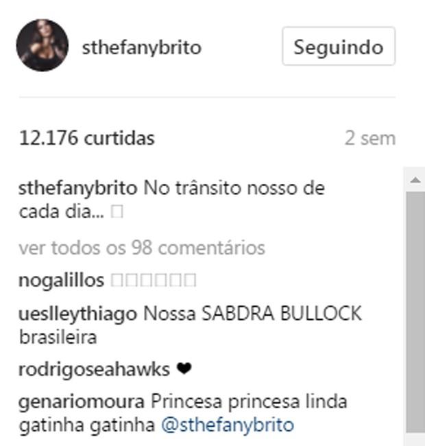 Sthefany Brito é comparada com Sandra Bullock (Foto: Reprodução/Instagram)