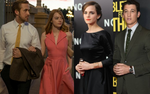 Ryan Gosling, Emma Stone, Emma Watson, Miles Teller (Foto: Reprodução/Getty Images)