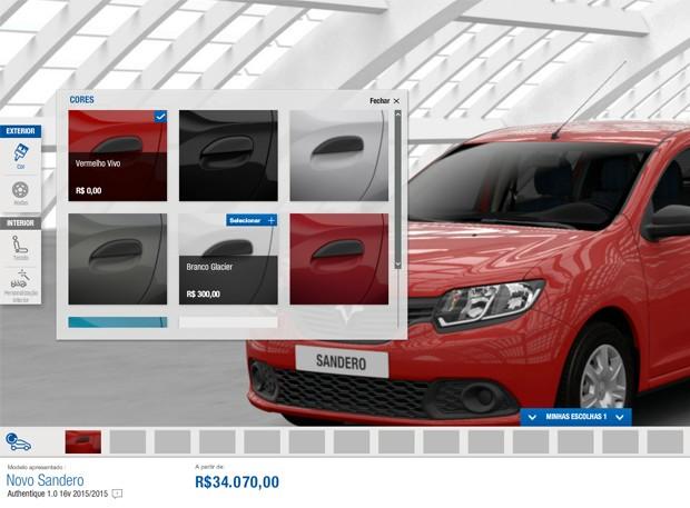 Opções de cores para o Renault Sandero (Foto: Reprodução)