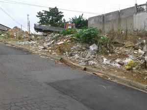 Terreno com entulhos em Mogi das Cruzes (Foto: Julia Moraes/VC no G1)