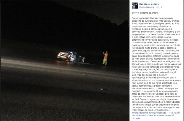 Henrique e Juliano mostram foto de acidente (Foto: Reprodução/Facebook)