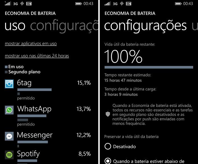 Economia de bateria do Windows Phone permite que usuário tenha acesso às detalhes do consumo do sistema (Foto: Reprodução/Elson de Souza)