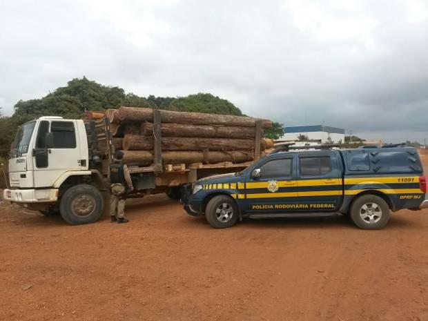 Carga de madeira ilegal apreendida nesta segunda (10), em Dom Eliseu, tinha como destino uma serraria no município. (Foto: Divulgação/Polícia Rodoviária Federal)