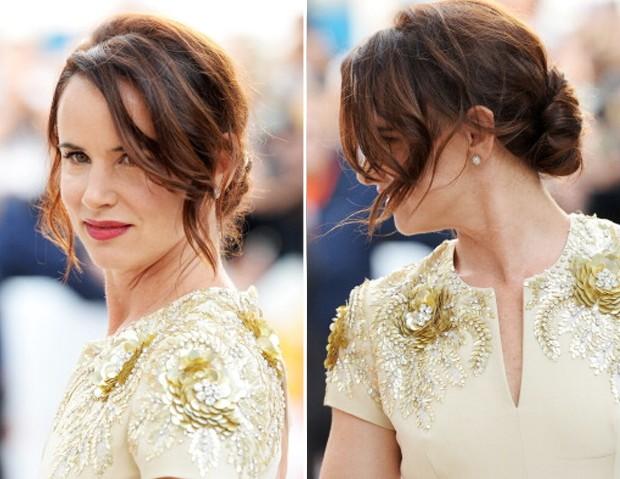 Juliette Lewis, entre o polido e o podrinho, entre ondas e liso, mas ainda com franja lateral (Foto: Getty Images)