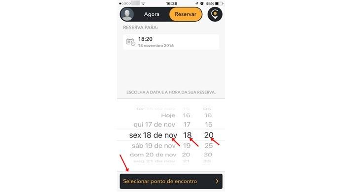 Escolher dia e horário para agendar viagem no Cabify