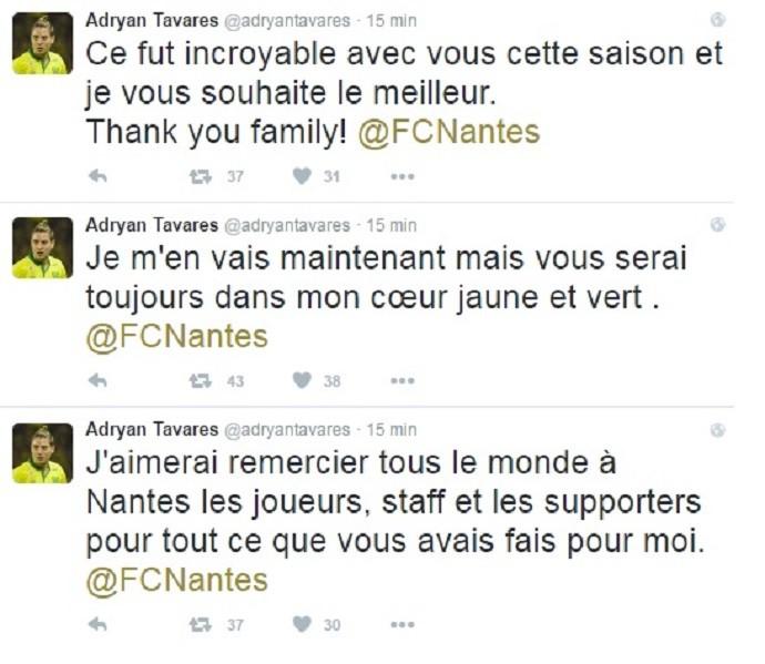 Adryan despedida Nantes Twitter (Foto: Reprodução/Twitter)