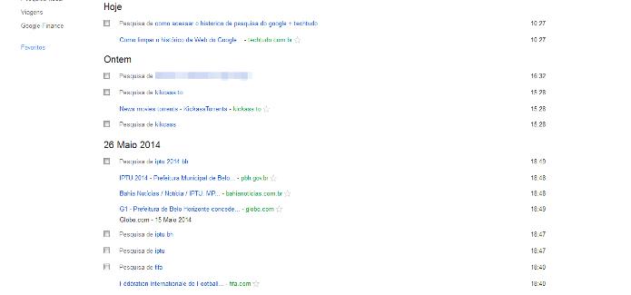 Histórico de buscas feito pelo internauta no Google organizado por dia e hora (Foto: Reprodução/Lívia Dâmaso)