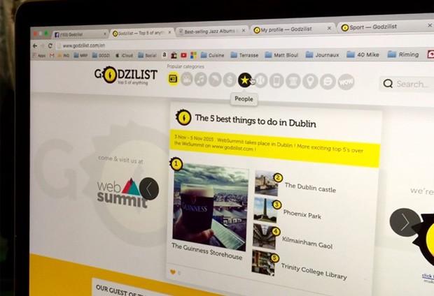Site do Godzilist, que foi apresentado na Web Summit (Foto: Denise Sobrinho/G1)