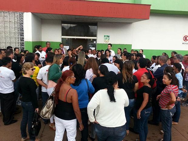 Greve de enfermeiros do Pronto-Socorro de Várzea Grande (MT). (Foto: Danuza da Silva Santos/Arquivo pessoal)