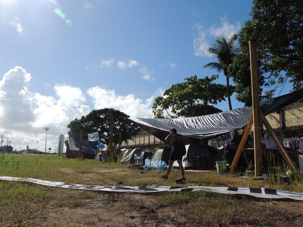 Clima é tranquilo na ocupação do Cais José Estelita (Foto: Vitor Tavares/G1)