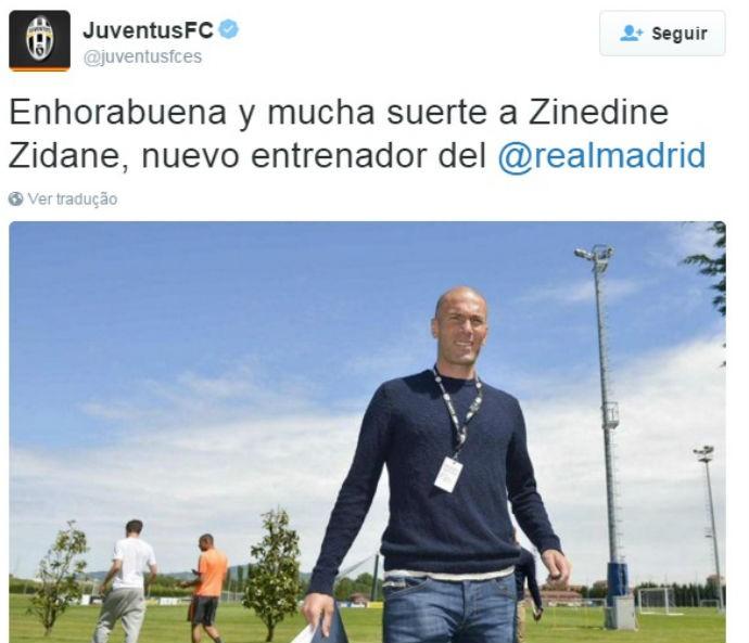 Juventus felicita Zidane por assumir o Real Madrid