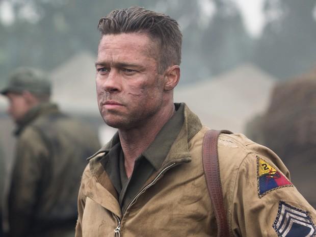 Brad Pitt em 'Corações de ferro' (Foto: Divulgação)