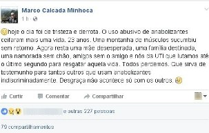 Post do médico Marco Calcada no facebook sobre morte de jovem em Taubaté (Foto: Reprodução/Facebook)