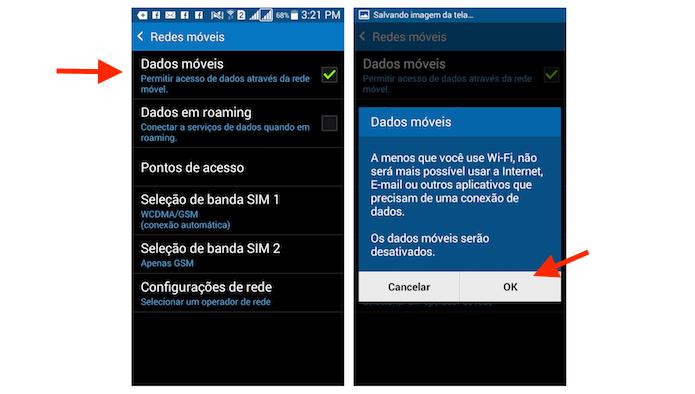 Desativando redes móveis no Galaxy Gran Prime Duos (Foto: Reprodução/Marvin Costa)