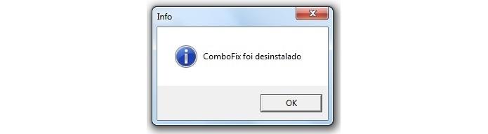Mensagem de confirmação da desinstalação do ComboFix (Foto: Reprodução/Raquel Freire)