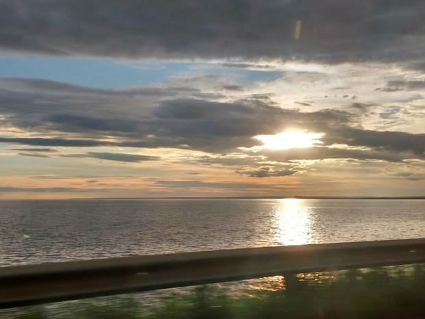 Pôr do sol no distrito de Nova Porto XV, na região sudeste de MS (Foto: Juliene Katayama/G1 MS)