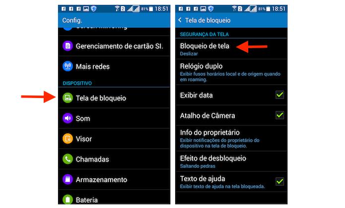 Acessando as opções de bloqueio de tela do Galaxy Gran Prime Duos (Foto: Reprodução/Marvin Costa)