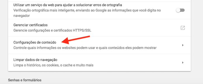 Acesse as configurações de conteúdo do Chrome no computador (Foto: Reprodução/Marvin Costa)