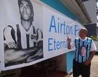 Airton Pavilhão  ganha faixa de sua família (Gabriel Cardoso / GLOBOESPORTE.COM)