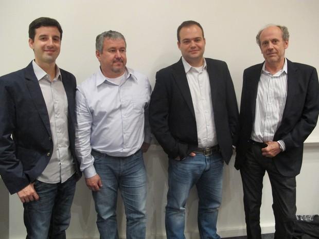 Presidente do McCann Worlgroup, Pablo Walker (à direita) e sócios-fundadores da E/Ou (Foto: Darlan Alvarenga/G1)