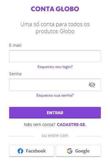 Login - Canais Globo (Foto: Canais Globo)
