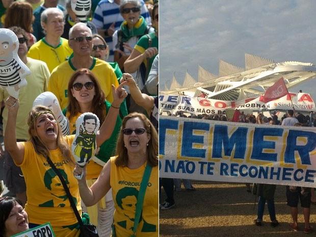 Rio de Janeiro teve protestos contra Dilma e contra Temer neste domingo (Foto: Silvia Izquierdo/AP e G1)