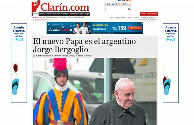 Argentino 'Clarín' coloca foto enorme de Jorge Bergoglio em sua capa (Foto: Reprodução/Clarín)