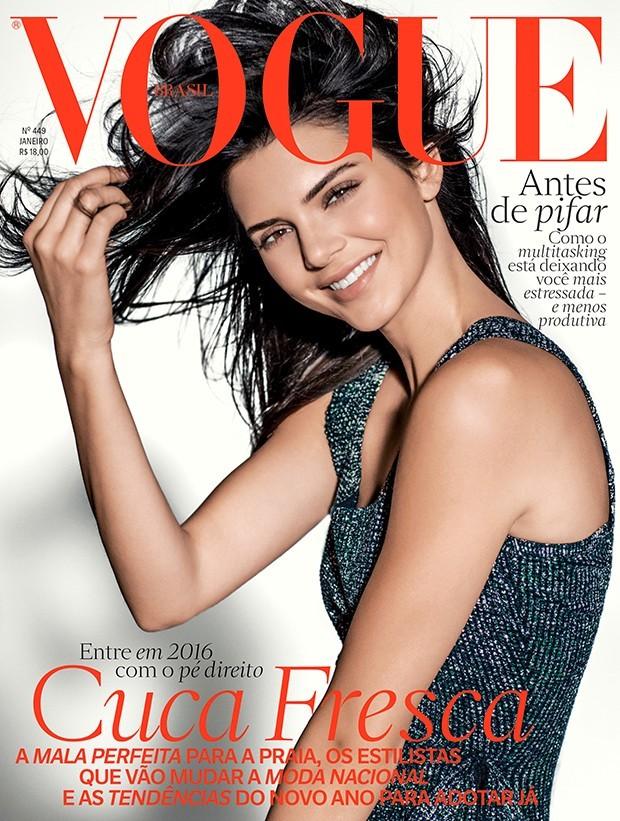 Kendall Jenner na capa da Vogue Brasil de janeiro de 2016 (Foto: Russel James)