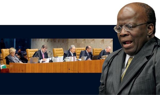 JUÍZOS SEVEROS O relator Joaquim Barbosa  e  ministros do Supremo Tribunal Federal, na bancada. Eloquência  e dores do orador,  cansaço dos ouvintes  (Foto: Fellipe Sampaio/STF)