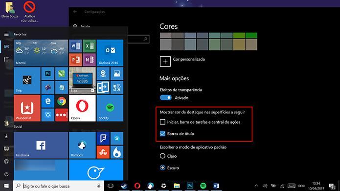 Usuário pode agora adotar cor de destaque somente no Iniciar ou na barra de título (Foto: Reprodução/Elson de Souza)