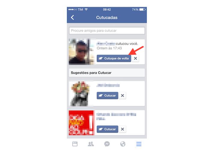 Descobrindo que cutucou e cutucando de volta no Facebook pelo iPhone (Foto: Reprodução/Marvin Costa)