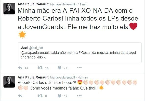 Ana Paula Renaul comenta programa com Roberto Carlos (Foto: Reprodução/Twitter)