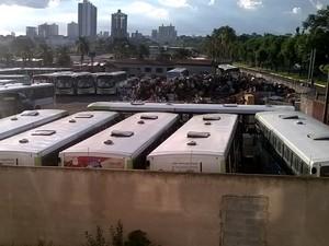 Ônibus da Rápido Araguaia estão apreendidos em garagem de ônibus, em Goiânia (Foto: Reprodução/ TV Anhanguera)