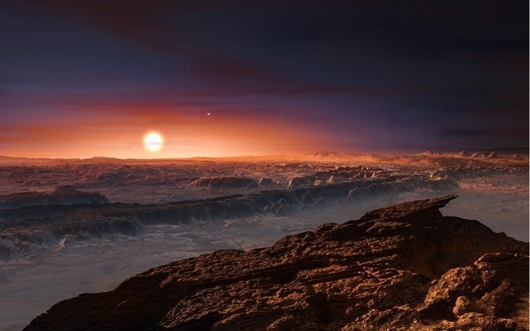 Ilustração mostra como pode ser a superfície do planeta Proxima b, que orbita a estrela Proxima Centauri, a mais próxima do Sol
