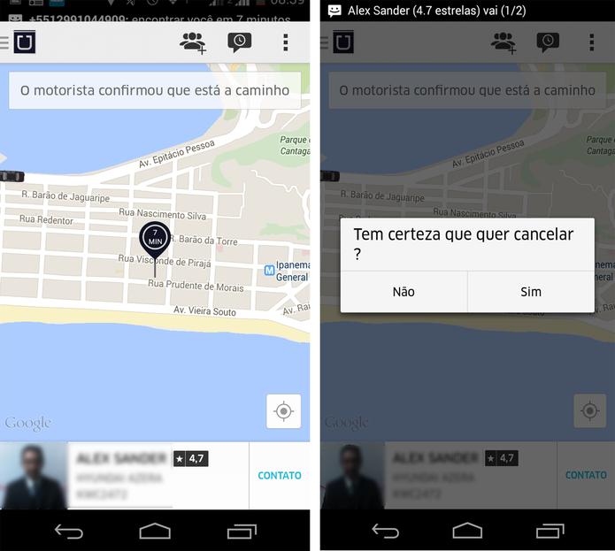 Solicitação de carona/ táxi no Uber (Foto: Reprodução/ Marcela Vaz)