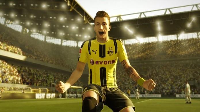 Fifa 17 exibe o alemão Marco Reus do Borussia Dormund em seu gameplay (Foto: Reprodução/YouTube) (Foto: Fifa 17 exibe o alemão Marco Reus do Borussia Dormund em seu gameplay (Foto: Reprodução/YouTube))