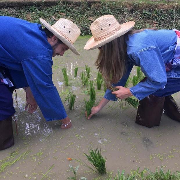 Jayme Matarazzo e a mulher, Luiza Tellechea, em plantação de arroz na Tailândia (Foto: Instagram/ Reprodução)