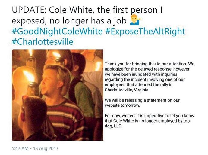 """""""COLE WHITE, A PRIMEIRA PESSOA QUE EU EXPUS, NÃO TEM MAIS UM EMPREGO"""", PUBLICOU A CONTA @YESYOURERACIST NO TWITTER (Foto: Reprodução)"""
