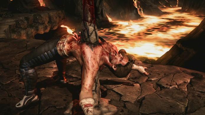 Johnny Cage é escolhido o alvo novamente de um Brutality de Tremor, perfurando-o com uma estalagmite (Foto: Reprodução/Event Hubs)