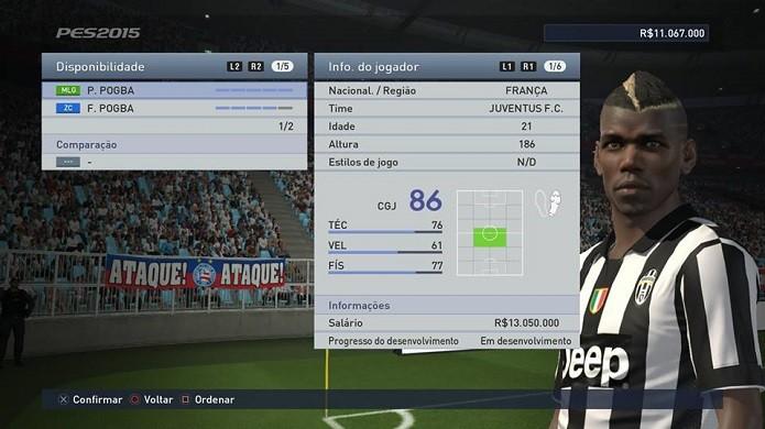 Pogba é o melhor volante do jogo (Foto: Reprodução/Thiago Barros)