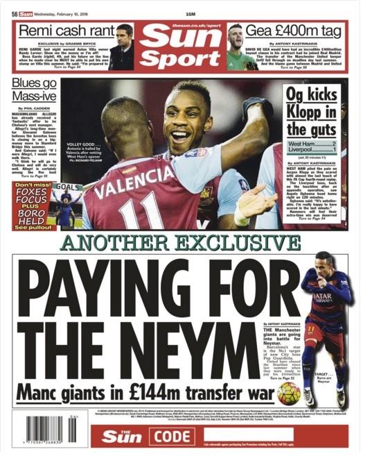 """BLOG: Jornal destaca """"guerra de R$ 813 milhões"""" dos times de Manchester por Neymar"""