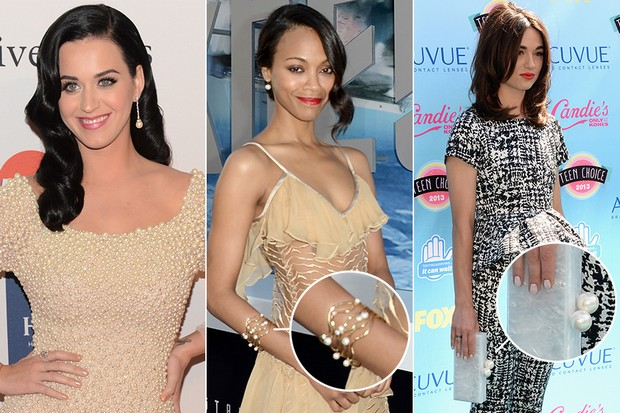 Jóias com pérolas - Katy Perry, Zoe Saldana e Crystal Reed (Foto: AFP | Getty Images)