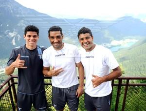 Ederson, Vinícius Freitas e André Dias, do Lazio (Foto: Divulgação / Site Oficial Lazio)
