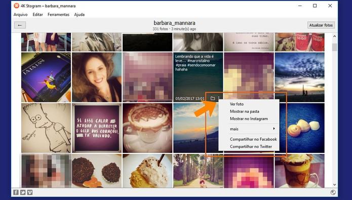 Veja todas as opções de cada foto no 4K Stogram (Foto: Reprodução/Barbara Mannara)