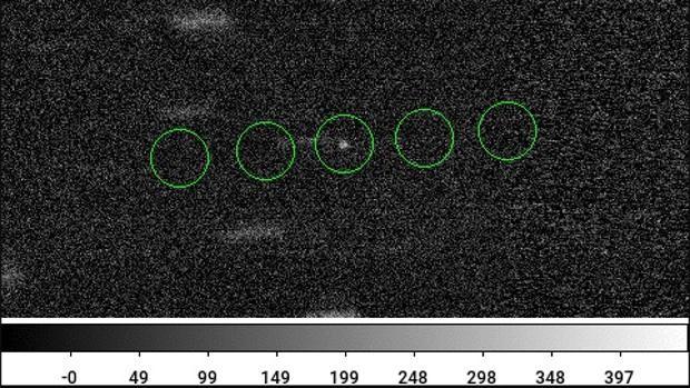 Os círculos verdes apresentam a posição do objeto espacial (Foto: Divulgação)