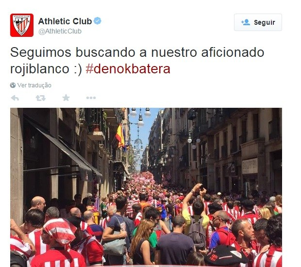 Torcedores do Athletic Bilbao nas ruas de Barcelona